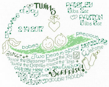 click here to view larger image of Lets Love Twins - Kit (counted cross stitch kit)