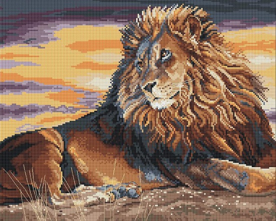 click here to view larger image of Sunset on the Pridelands (counted cross stitch kit)