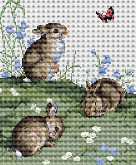 click here to view larger image of Bunnies & Butterflies (counted cross stitch kit)