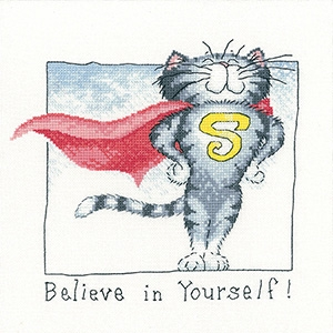 click here to view larger image of Believe In Yourself - Cats Rule (Aida) (counted cross stitch kit)