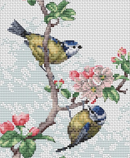 click here to view larger image of Blue Tits & Blossoms (counted cross stitch kit)