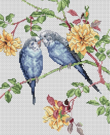 click here to view larger image of Budgie Love (counted cross stitch kit)