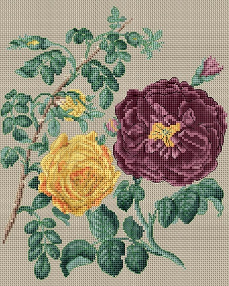 click here to view larger image of Yellow Centifolia Rose & Purple Rose (counted cross stitch kit)