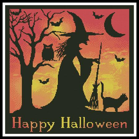 click here to view larger image of Halloween Witch Silhouette  (Joni Prittie) (chart)