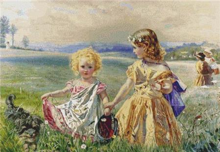 click here to view larger image of Children Garlanded With Flowers In A Meadow (chart)