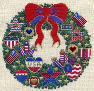 click here to view larger image of Patriots Wreath (counted canvas chart)