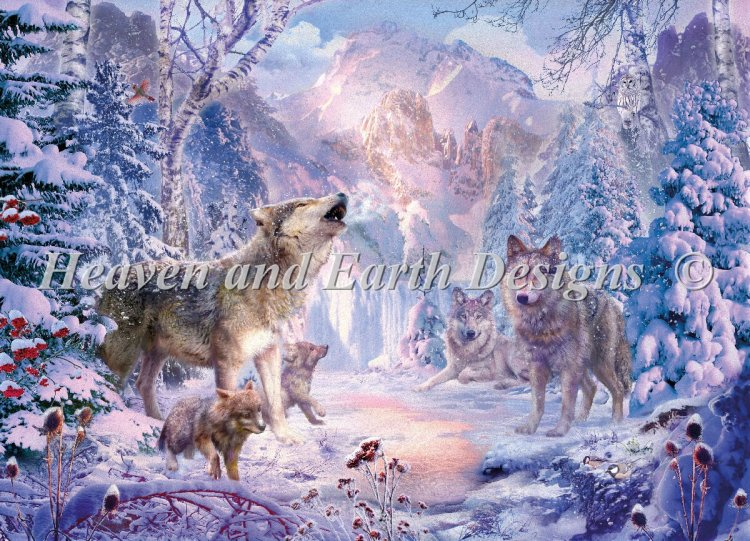 click here to view larger image of Mini Snow Landscape Wolves (chart)