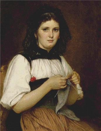 click here to view larger image of Young Bernese Woman In Costume Knitting (chart)