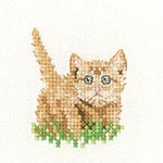 click here to view larger image of Ginger Kitten - Little Friends (Aida) (counted cross stitch kit)