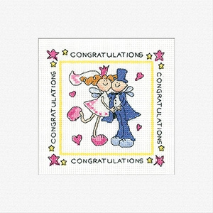 click here to view larger image of Fairy Wedding Cards - 3 Pack (counted cross stitch kit)