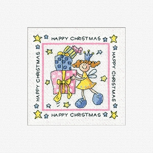 click here to view larger image of Happy Christmas Cards - 3 Pack (counted cross stitch kit)