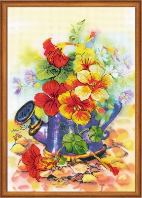 click here to view larger image of Garden Watering Can (stamped cross stitch kit)