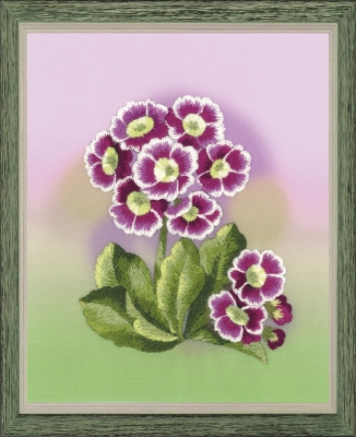 click here to view larger image of Primroses - Satin Stitch (stamped cross stitch kit)