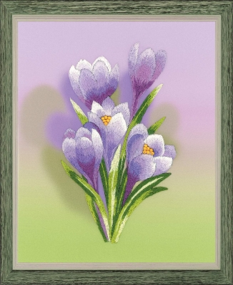 click here to view larger image of Crocuses - Satin Stitch (stamped cross stitch kit)