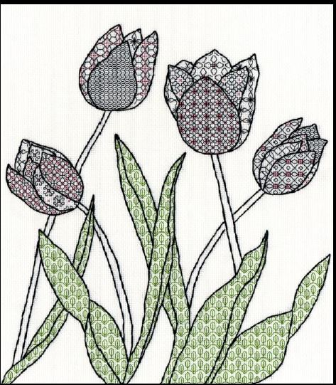 click here to view larger image of Blackwork Tulips (counted cross stitch kit)