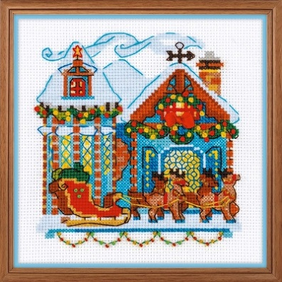 click here to view larger image of Cabin With Sleigh (counted cross stitch kit)