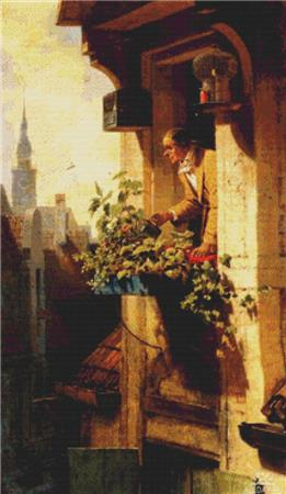 click here to view larger image of Man Watering Flowers (chart)