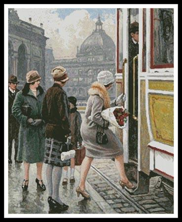 click here to view larger image of At The Tram Stop  (Paul Gustave Fischer) (chart)