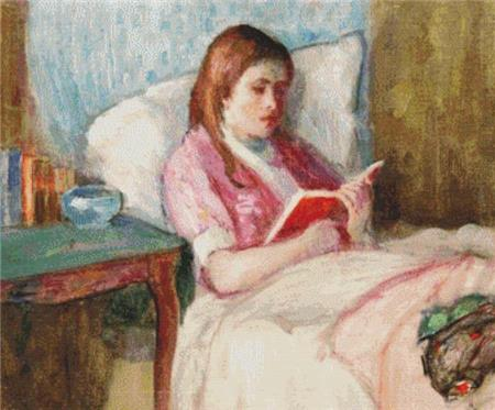 click here to view larger image of Young Woman Reading In Bed (chart)