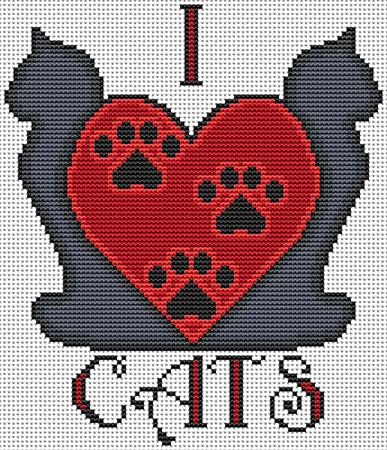 click here to view larger image of I Heart Cats (chart)