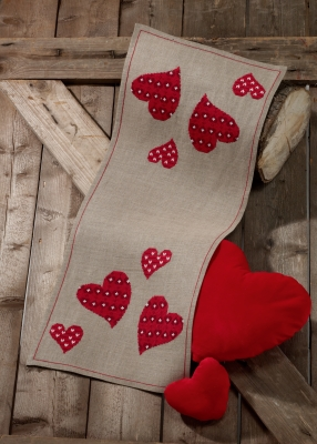click here to view larger image of Red Hearts Table Runner (counted cross stitch kit)