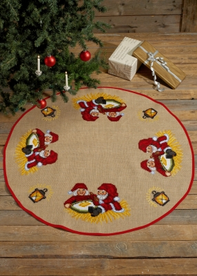 click here to view larger image of Elf Tree Skirt (counted cross stitch kit)