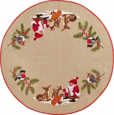 click here to view larger image of Santa and Animals Tree Skirt (stamped cross stitch kit)