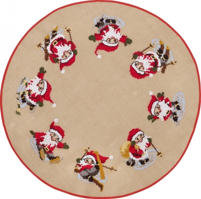 click here to view larger image of Elfs In Snow Tree Skirt (stamped cross stitch kit)