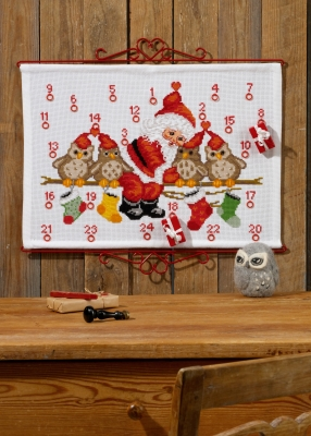 click here to view larger image of Owls Advent Calendar (counted cross stitch kit)