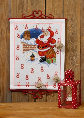 click here to view larger image of Elf and Owl Advent Calendar (counted cross stitch kit)
