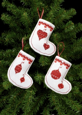 click here to view larger image of Christmas Ornament Stocking Ornaments (counted cross stitch kit)