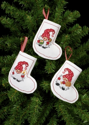 click here to view larger image of 3 Elfs Ornaments (counted cross stitch kit)