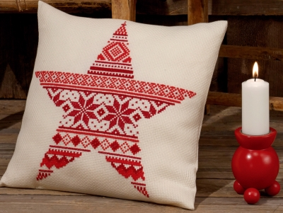 click here to view larger image of Christmas Pattern Cushion (counted cross stitch kit)