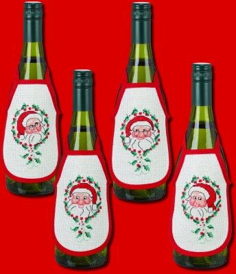 click here to view larger image of Elfs Bottle Aprons (Set of 4) (counted cross stitch kit)