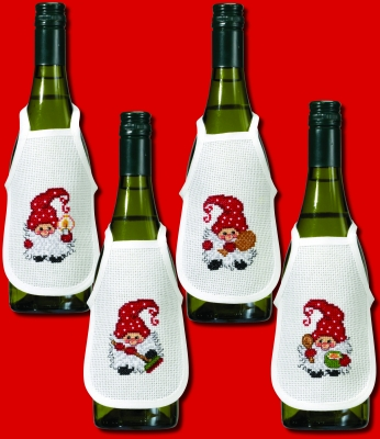 click here to view larger image of Active Elfs Bottle Aprons (Set of 4) (counted cross stitch kit)