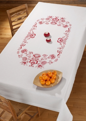 click here to view larger image of Red Design Tablecloth (stamped cross stitch kit)