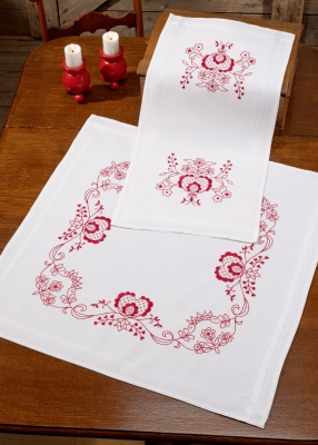 click here to view larger image of Red Design Table Topper (bottom) (stamped cross stitch kit)