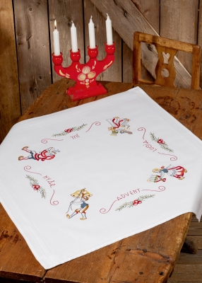 click here to view larger image of Advent White Table Topper (stamped cross stitch kit)