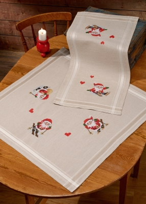 click here to view larger image of Elfs In Snow Table Topper (bottom) (stamped cross stitch kit)