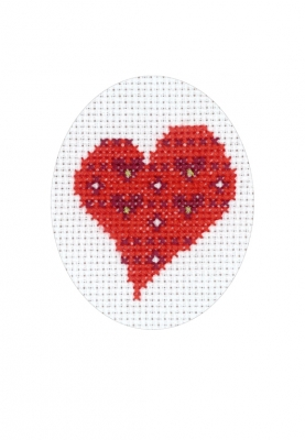 click here to view larger image of Heart With Heart Card (counted cross stitch kit)