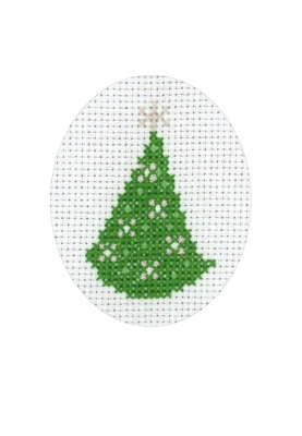 click here to view larger image of Pine Tree With Stars Card (counted cross stitch kit)