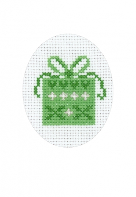 click here to view larger image of Gift With Hearts Card (counted cross stitch kit)