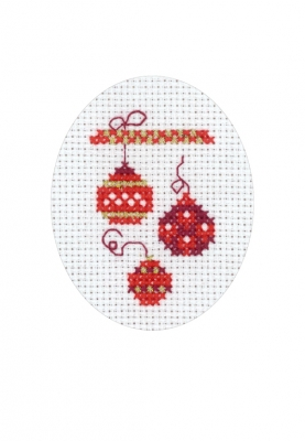 click here to view larger image of Christmas Balls Card (counted cross stitch kit)