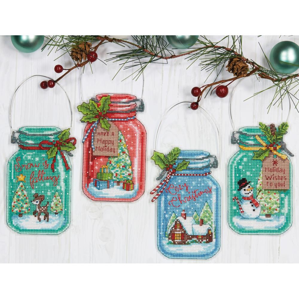 click here to view larger image of Christmas Jar Ornaments (counted cross stitch kit)