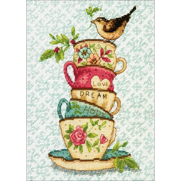 click here to view larger image of Stacked Tea Cups - Susan Winget (counted cross stitch kit)