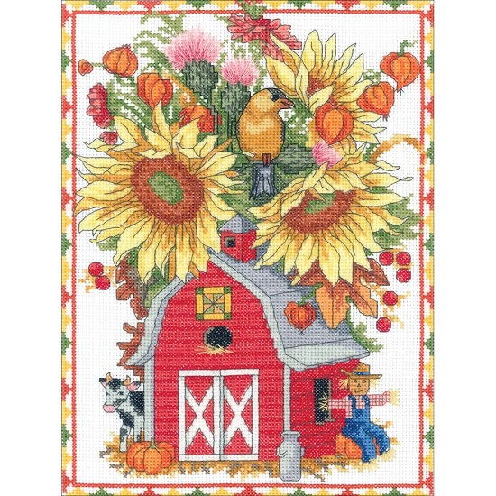 click here to view larger image of Barn Birdhouse Bouquet (counted cross stitch kit)