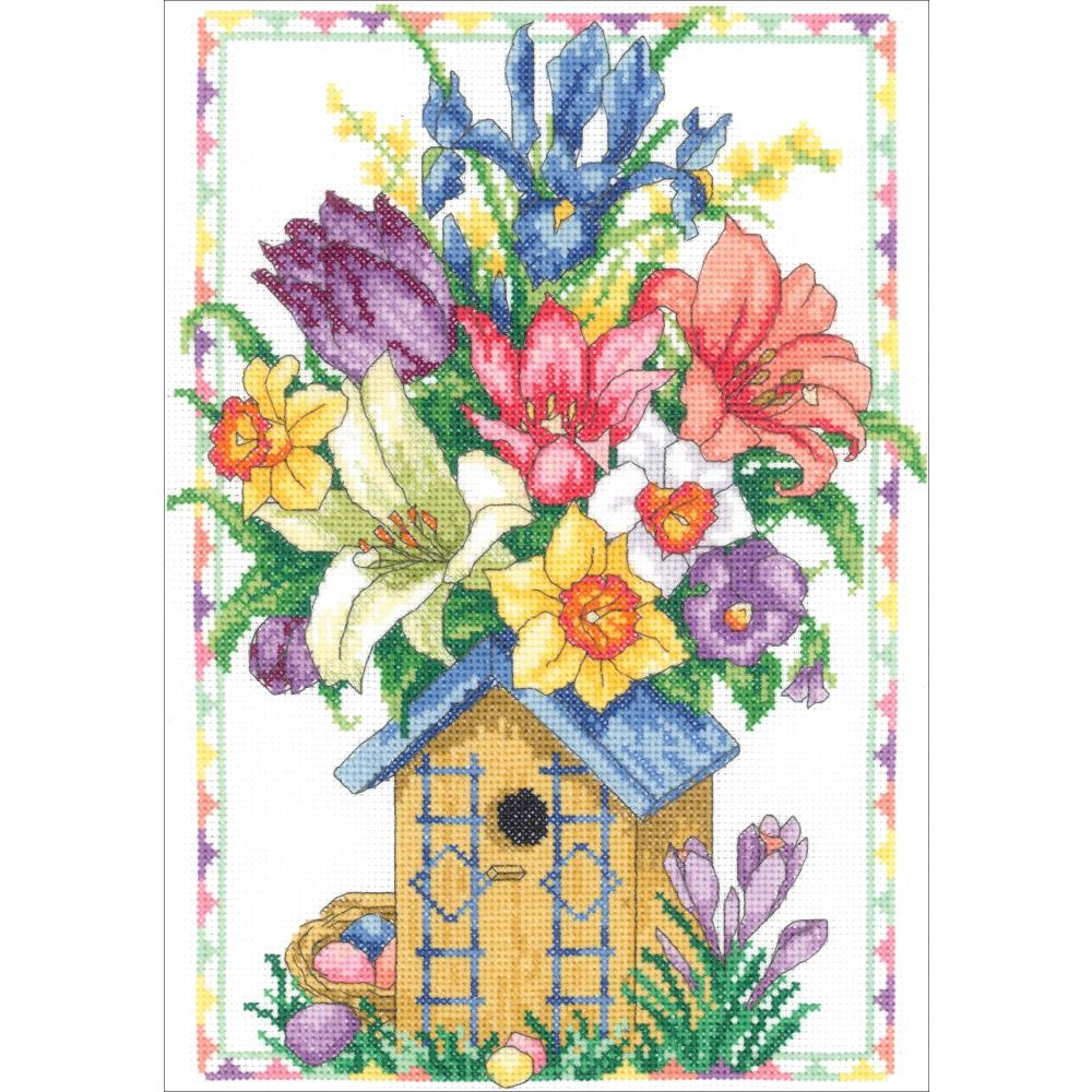 click here to view larger image of Spring Birdhouse Bouquet (counted cross stitch kit)