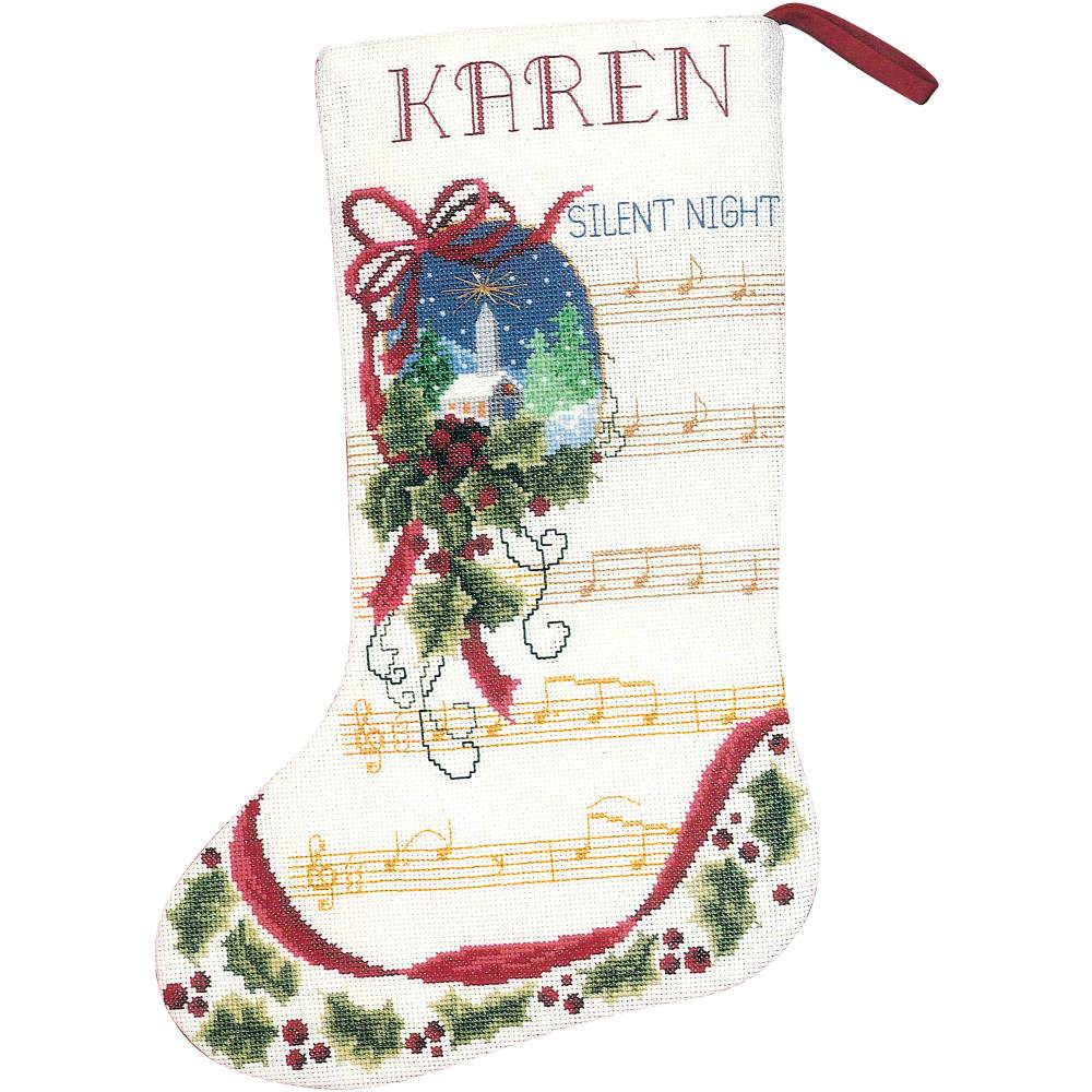 click here to view larger image of Silent Night Stocking (counted cross stitch kit)
