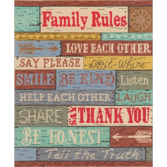 click here to view larger image of Family Rules (counted cross stitch kit)