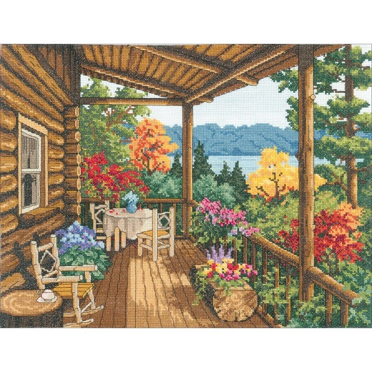 click here to view larger image of Log Cabin Covered Porch (counted cross stitch kit)